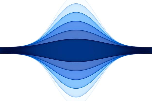 3d-illustration eines stereostreifens verschiedener farben. wellenähnliche geometrische streifen. abstraktes weißes und blaues neon leuchtendes kreuzungslinienmuster