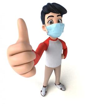 3d-illustration eines teenagers mit einer maske zur verhinderung von coronaviren