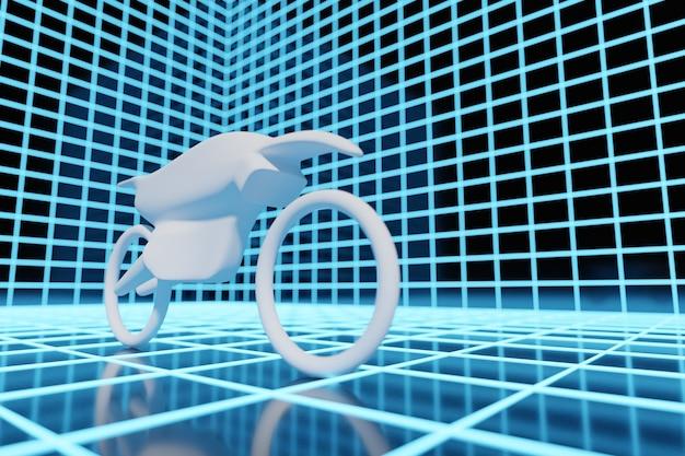 3d illustration eines weißen motorrades in einem blau leuchtenden neonraum.