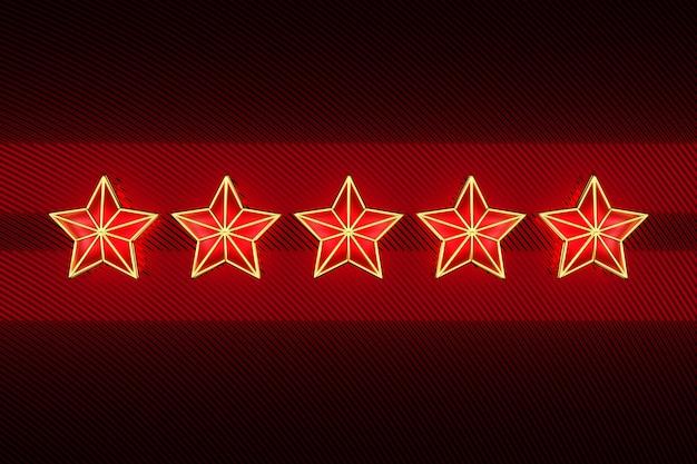 3d illustration fünf dekorative weihnachtssterne auf der reihe auf rotem dunklem hintergrund.