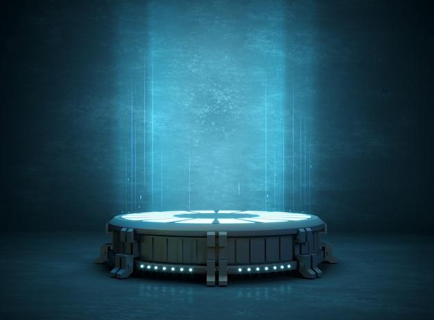 3d-illustration. futuristischer stand oder podiumshintergrund für logo. hohe energie. attrappe, lehrmodell, simulation