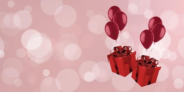 3d-illustration geschenkboxbild mit luftballons, die auf bokeh weihnachten neujahr schweben