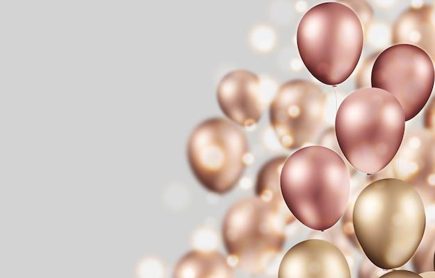 3d-illustration goldballon mit box und konfettibombe realistische designideen öffnen karton