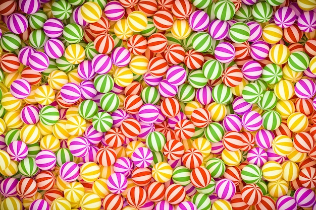 3d illustration, gruppe rot gestreifte süßigkeitskugeln