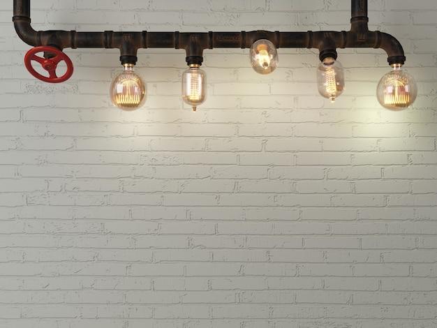 3d-illustration. hintergrund backsteinmauer loft steampunk lampe aus rohren.