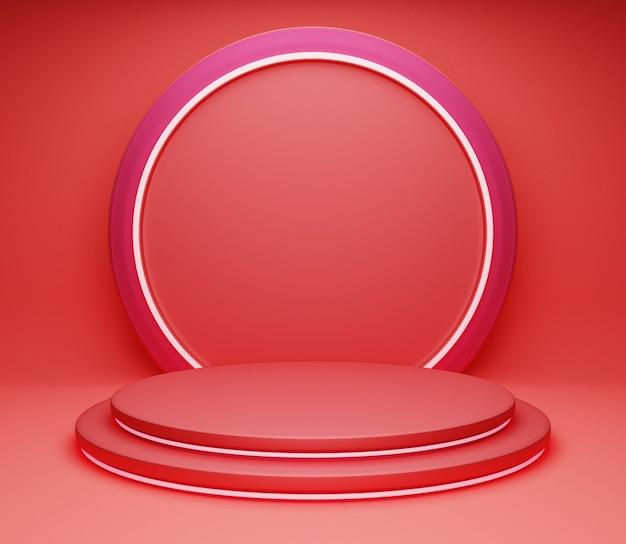 3d-illustration hintergrund bühne einfaches minimalistisches glänzendes rotes abstraktes studio