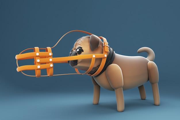 3d-illustration, hund, der einen mundschutz trägt