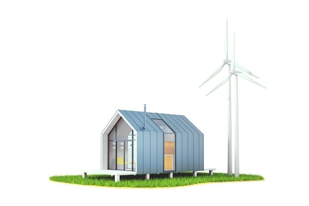 3d-illustration isolierte windenergie im hinterhof eines hölzernen weißen hauses