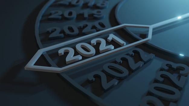 3d-illustration kalendershow das neue jahr 2021.