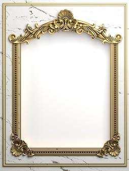 3d-illustration. klassischer goldrahmen im barockstil. schwarzer marmor.