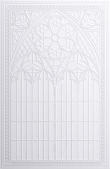 3d-illustration. klassischer weißer wandrahmen im gotischen stil.