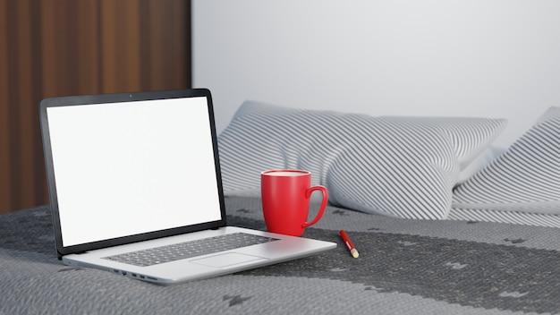 3d-illustration. laptop und eisbecher gerät mit weißem bildschirm auf dem bett in der morgenzeit. work from home-konzept