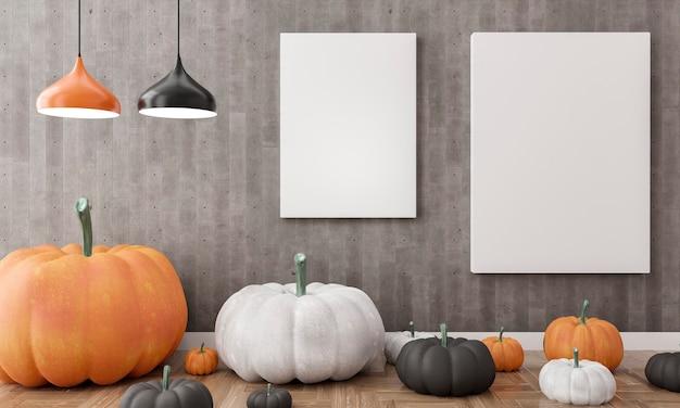 3d-illustration. leere leinwand in einer wohnzimmer-halloween-dekoration. weiße, schwarze und orangefarbene kürbisse.