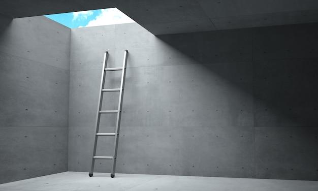 3d-illustration. licht am ende des korridors und eine leiter schlüpfen zum himmel.