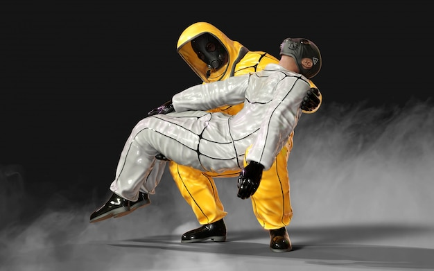 3d illustration männer, in viralen schützenden biohazard gelben und weißen anzügen, die sich gegenseitig in der corona-virus- oder covid-19-ausbruchsituation helfen, isoliert auf dunklem hintergrund, mit beschneidungspfad