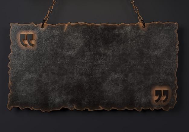 3d-illustration. massives anführungszeichen in der metallplatte am wandraum. modernes konzeptionelles interieur. hintergrund für banner