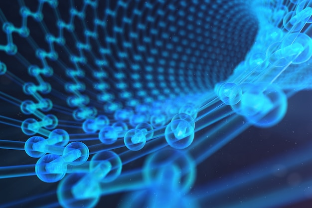 3d-illustration nanotechnologie, leuchtende hexagonale geometrische form nahaufnahme, konzept graphen atomstruktur, konzept graphen molekülstruktur. wissenschaftliche illustration