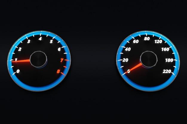 3d-illustration neuwagen-innendetails. tachometer, drehzahlmesser mit blauer hintergrundbeleuchtung. schließen sie die schwarze autotafel, den digitalen hellen tacho im sportstil.