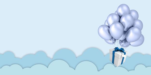 3d-illustration papierkunstballons, die auf grünen himmelswolken und geschenkboxen auf blauem himmel schweben