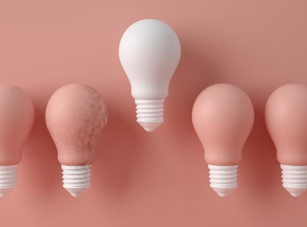 3d-illustration. reihe von glühbirnen mit einer verschiedenen farbe.