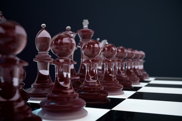 3d-illustration schachspiel an bord. konzepte geschäftsideen und strategieideen. glasschachfiguren auf einer dunkelheit mit tiefenschärfeeffekten.