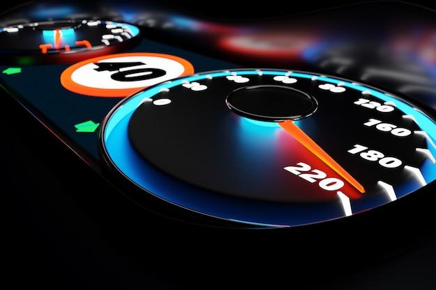 3d-illustration schließen nahes schwarzes auto-panel, digitaler heller tacho im sportstil. die tachonadel zeigt eine höchstgeschwindigkeit von 220 km / h