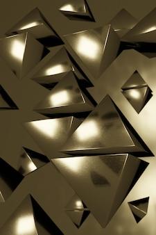 3d-illustration, schmutzhintergrund, viele schwebende goldene dreieckige pyramiden