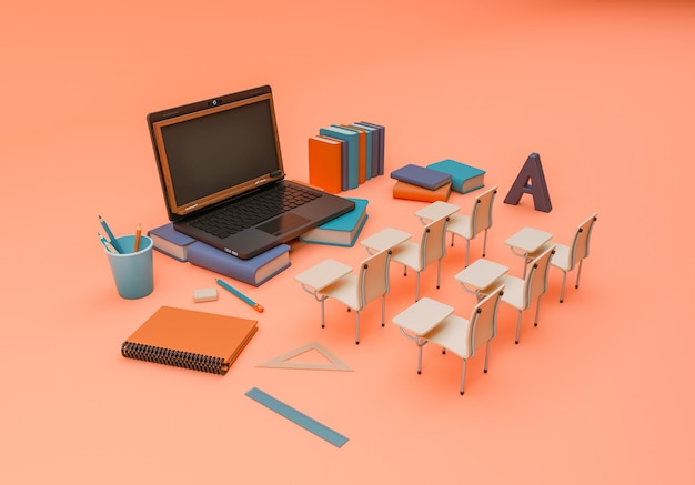 3d-illustration. schulmaterial und gegenstände mit einem laptop
