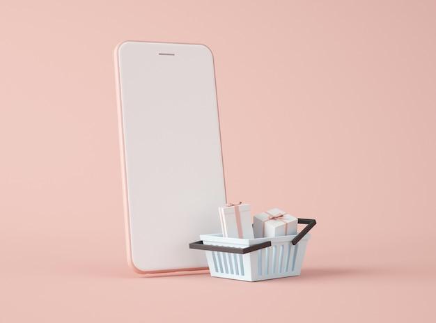 3d-illustration. smartphone und einkaufskorb.