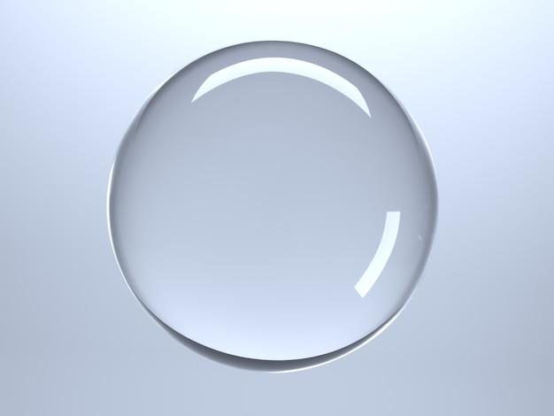 3d-illustration. transparente kugel aus kristall oder glas auf blauem grund. hintergrund