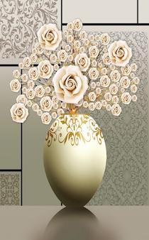 3d-illustration vasen goldener blumenbaum und helle hintergrund-leinwandkunst für wandrahmen