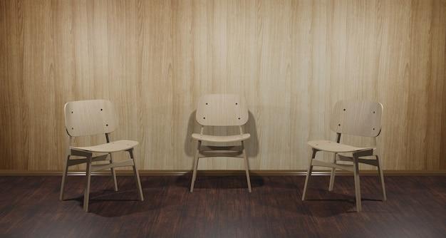 3d-illustration vintage-stil holzstuhl auf parkettboden und helle holzmaserung wand für designarbeit