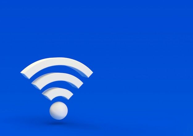 3d-illustration, volumetrisches wlan-symbol