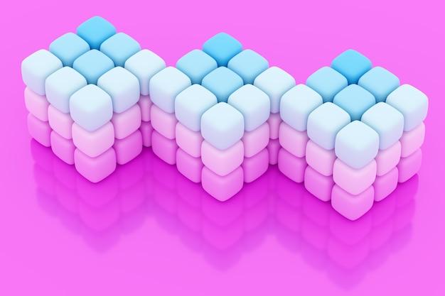3d-illustration von drei neonweißen würfeln von kleinen würfeln auf rosa lokalisiertem hintergrund. y¡yber würfel in der virtuellen realität. futuristisches geometrisches konzept