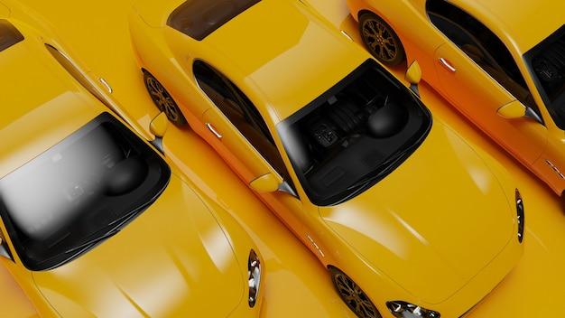 3d-illustration von gelben autos auf einer gelben oberfläche