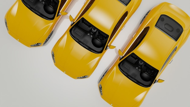 3d-illustration von gelben autos auf einer weißen oberfläche