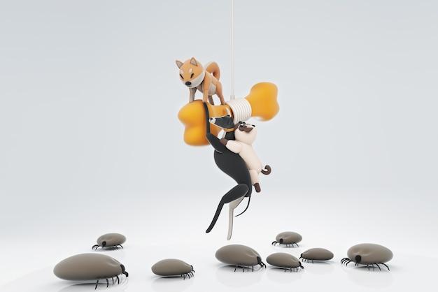 3d-illustration von hunden, die angst vor insekten haben
