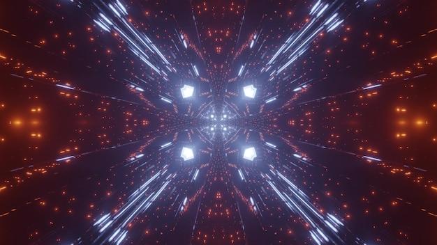 3d-illustration von lebendigen orange und blauen funken, die schimmern und abstrakte verzierung bilden