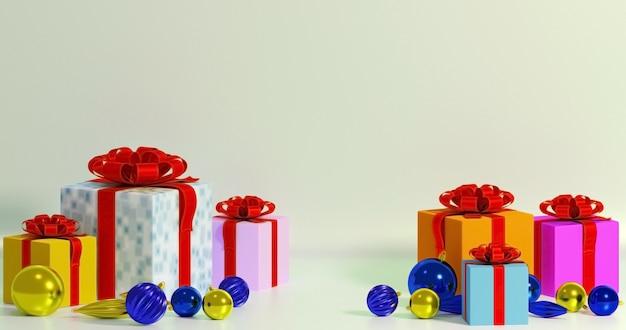 3d-illustration von neujahrsgeschenken