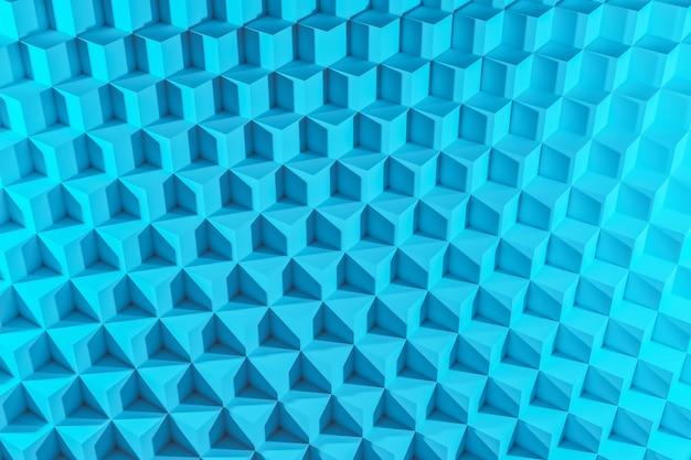 3d illustration von reihen des blauen würfels. satz kaugummi auf blauem hintergrund. parallelogrammmuster. technologiegeometrie hintergrund