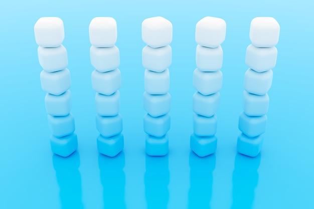 3d illustration von reihen des weißen würfels. satz kaugummi auf blauem hintergrund. parallelogrammmuster. technologiegeometrie hintergrund