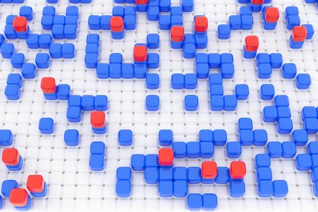 3d illustration von reihen von blauen und roten würfeln. satz von quadraten auf monokromem hintergrund.