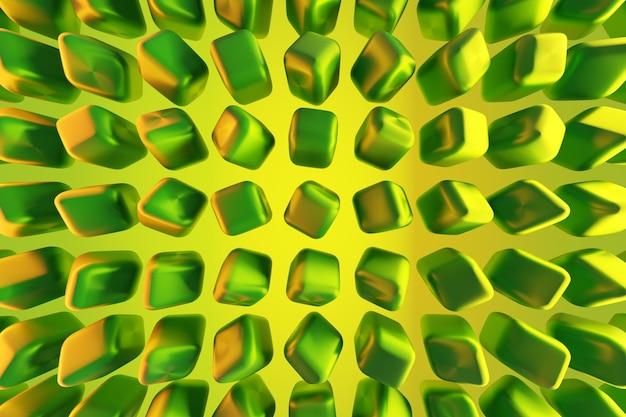 3d illustration von reihen von grünen neonwürfeln. technologiegeometrie hintergrund