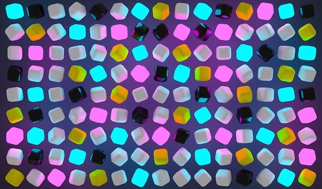 3d-illustration von reihen von lila, rosa und blauen neonquadraten.