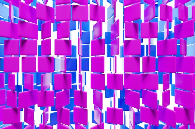 3d illustration von reihen von lila und rosa quadraten. satz von würfeln auf monokromem hintergrund, muster. geometrie hintergrund