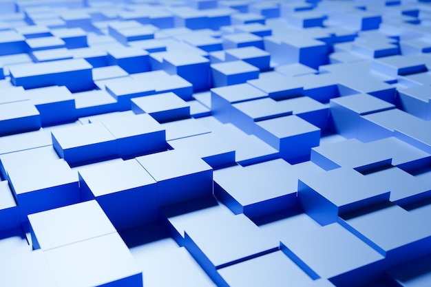 3d illustration von verschiedenen reihen von blauen quadraten. satz von würfeln auf monokromem hintergrund, muster. geometrie hintergrund