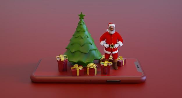 3d-illustration von weihnachtsbaum und weihnachtsmann auf 3d-rendering des smartphones