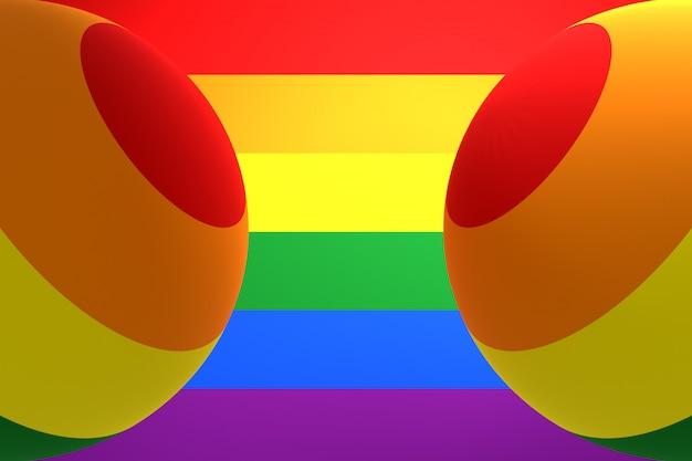 3d illustration von zwei luftballons der farbe der flagge der lgbt-gemeinschaft auf einer ähnlichen regenbogenfarbe.