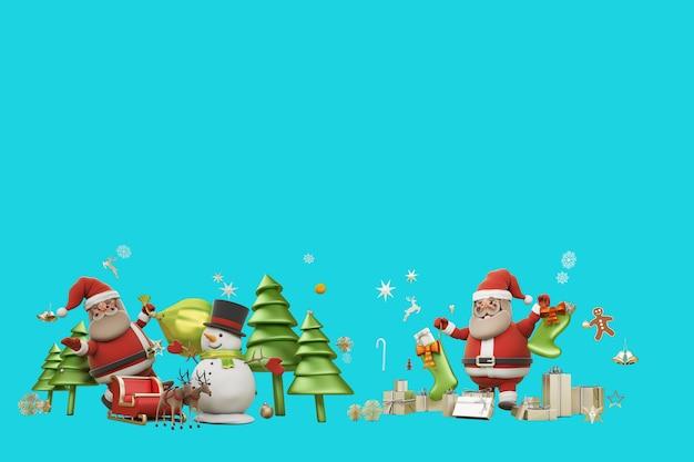3d illustration weihnachtstag mit santa claus