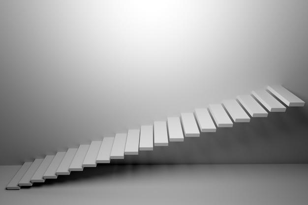 3d-illustration weiße aufsteigende treppe steigt in einem leeren weißen raum auf.